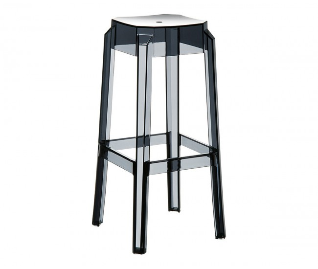 Бар стол Фокс, поликарбонат - черен прозрачен