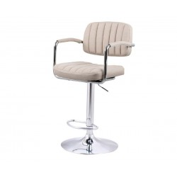 Бар стол Калипсо-13 с подлакътник, въртящ - бежов текстил