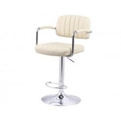 Бар стол Калипсо-13 с подлакътник, въртящ - бежова еко кожа