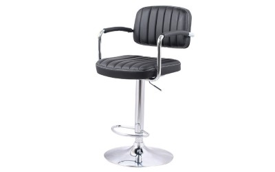 Бар стол Калипсо-13 с подлакътник, въртящ - черна еко кожа