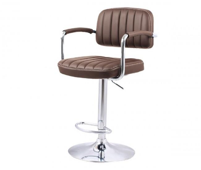 Бар стол Калипсо-13 с подлакътник, въртящ - кафява еко кожа