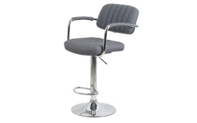 Бар стол Калипсо-13 с подлакътник, въртящ - сив текстил