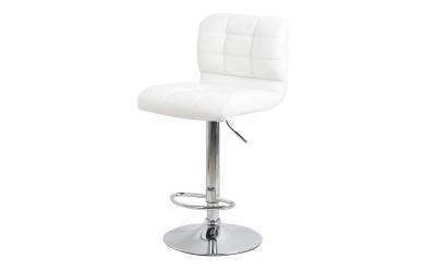 Бар стол Калипсо-15, въртящ - бяла еко кожа