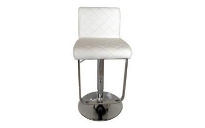 Бар стол Калипсо-17, въртящ - бяла еко кожа