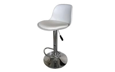 Бар стол Калипсо-18, въртящ - бяла еко кожа