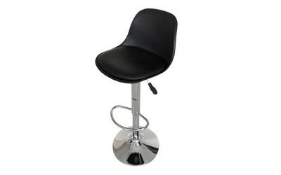 Бар стол Калипсо-18, въртящ - черна еко кожа