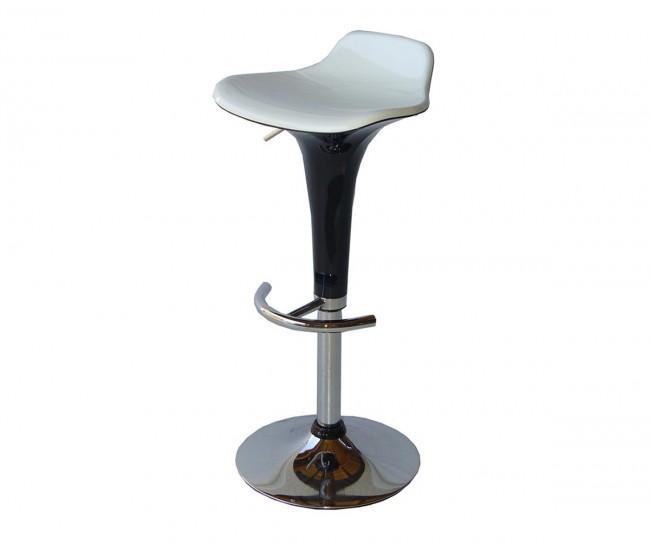 Бар стол Калипсо-6, въртящ - бяла седалка / черен