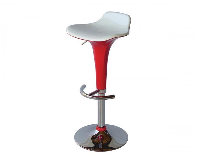 Бар стол Калипсо-6, въртящ - бяла седалка / червен