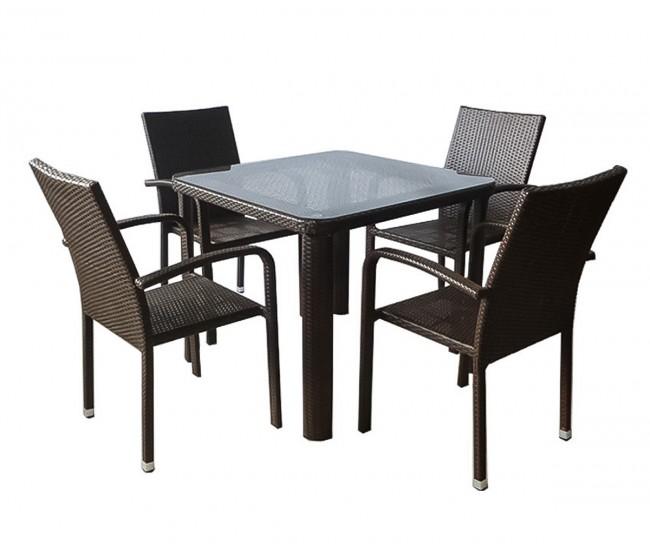 Ратанов градински комплект 59-341-1 с маса и четири стола, полипропилен - кафяв