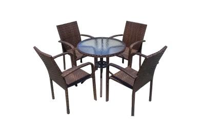 Ратанов градински комплект 59-4125В с маса и четири стола, полипропилен - кафяв