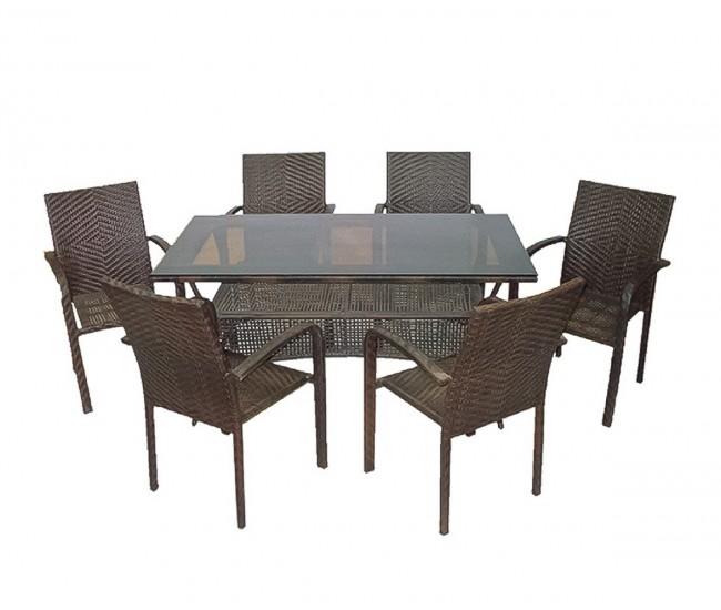 Ратанов градински комплект 59-45-2 с маса и шест стола, полипропилен - кафяв
