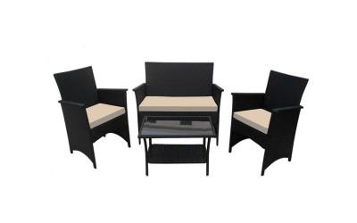 Ратанов градински комплект с възглавници 1008, две кресла, двойно канапе и масичка, полипропилен - черен