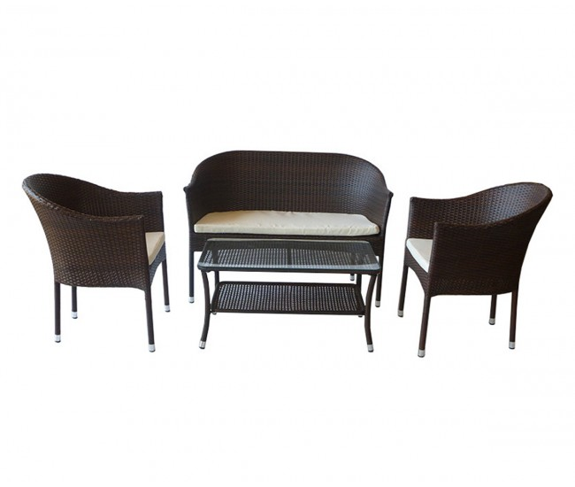 Ратанов градински комплект с възглавници 350, две кресла, двойно канапе и масичка, полипропилен - кафяв