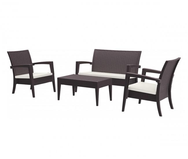 Ратанов градински комплект с възглавници Маями, две кресла, пейка и масичка / полипропилен - кафяв