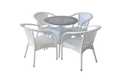 Ратанов градински комплект 220-46-1 с маса и четири стола, полипропилен - бял