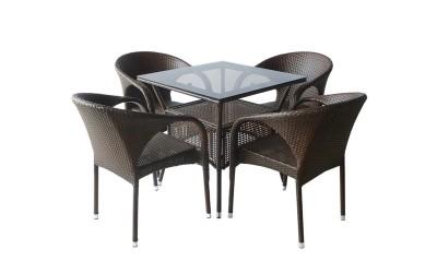 Ратанов градински комплект 290-45-1 с маса и четири стола, полипропилен - кафяв