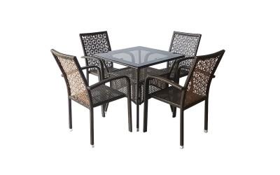 Ратанов градински комплект 59-2-45-1 с маса и четири стола, полипропилен - кафяв