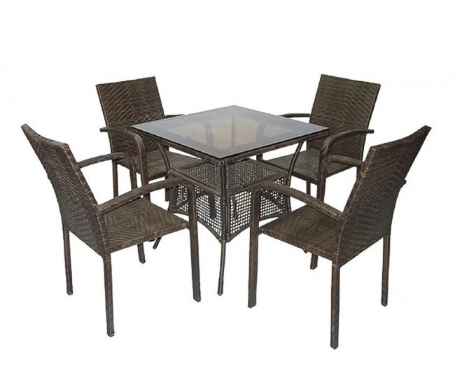 Ратанов градински комплект 59-45-1 с маса и четири стола, полипропилен - кафяв