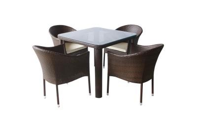 Ратанов градински комплект 350-341-1 с възглавници, маса и четири стола / полипропилен - кафяв