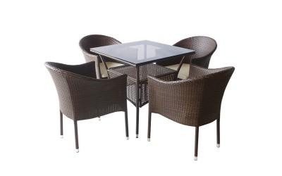 Ратанов градински комплект 350-45-1 с възглавници, маса и четири стола / полипропилен - кафяв