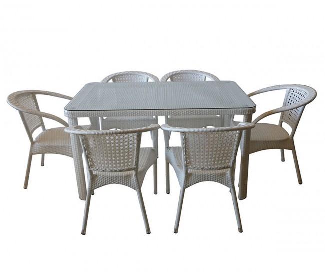 Ратанов градински комплект 220-341-2 с маса и шест стола, полипропилен - бял