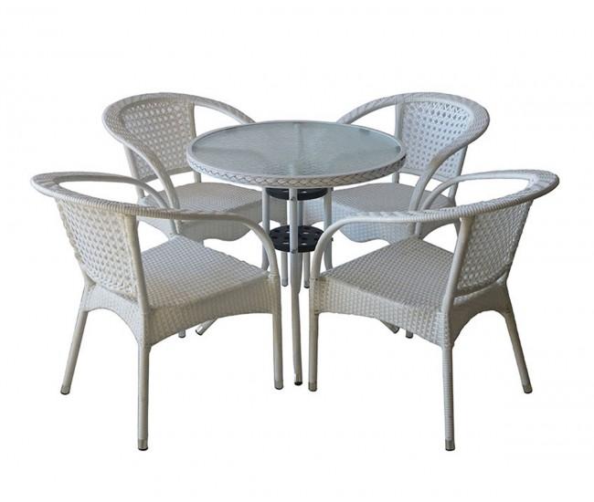 Ратанов градински комплект 220-4125В с маса и четири стола, полипропилен - бял