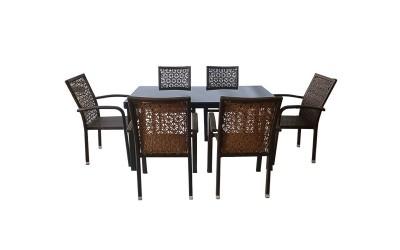 Ратанов градински комплект 59-2-341-2 с маса и шест стола, полипропилен - кафяв