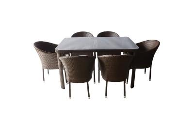 Ратанов градински комплект 350-341-2 с възглавници, маса и шест стола / полипропилен - кафяв