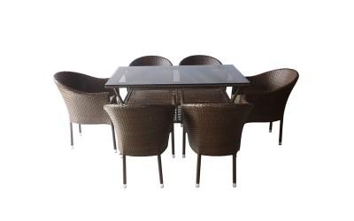 Ратанов градински комплект 350-45-2 с възглавници, маса и шест стола / полипропилен - кафяв