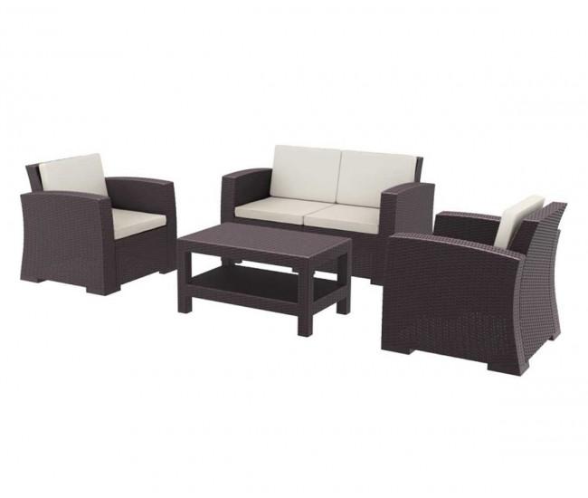 Ратанов градински комплект с възглавници Монако, две кресла, двойно канапе и масичка, полипропилен - кафяв