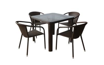 Ратанов градински комплект Вито 341-1 с маса и четири стола, полипропилен - кафяв
