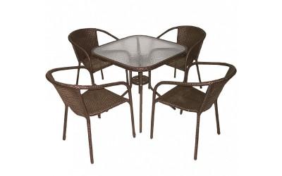 Ратанов градински комплект Вито 4125А с маса и четири стола, полипропилен - кафяв
