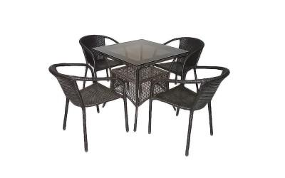 Ратанов градински комплект Вито 45-1 с маса и четири стола, полипропилен - кафяв