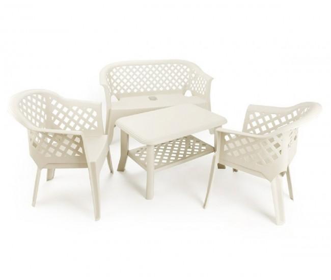 Градински комплект с две кресла Ларио, пейка Лариана и масичка Нисо / пластмаса - бял