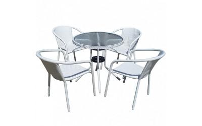 Ратанов градински комплект Вито 4125В с маса и четири стола, полипропилен - бял