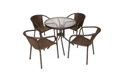 Ратанов градински комплект Вито 4125В с маса и четири стола, полипропилен - кафяв