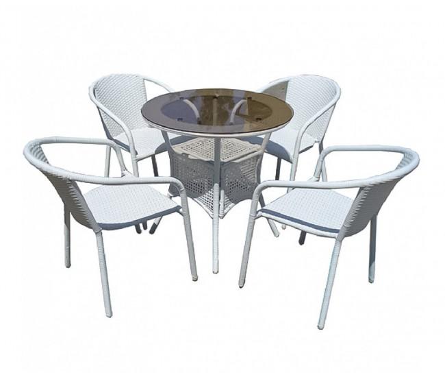 Ратанов градински комплект Вито 46-1 с маса и четири стола, полипропилен - бял