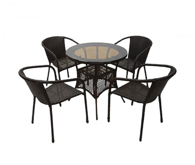 Ратанов градински комплект Вито 46-1 с маса и четири стола, полипропилен - кафяв