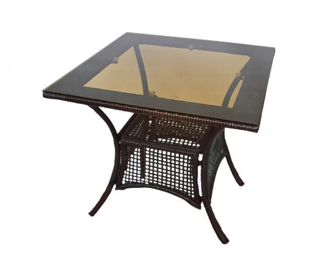 Ратанова градинска маса 45-1, стъкло / полипропилен - кафява