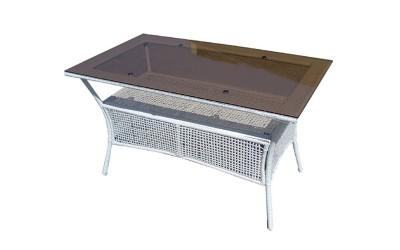 Ратанова градинска маса 45-2-1, стъкло / полипропилен - бяла