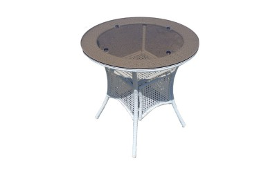Ратанова градинска маса 46-1 ф75/75 см., стъкло / полипропилен - бяла