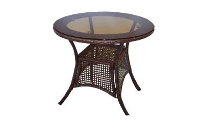 Ратанова градинска маса 46-1 ф75/75 см., стъкло / полипропилен - кафява