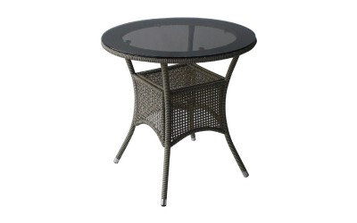 Ратанова градинска маса 46-1 ф75/75 см., стъкло / полипропилен - сиво/бежов
