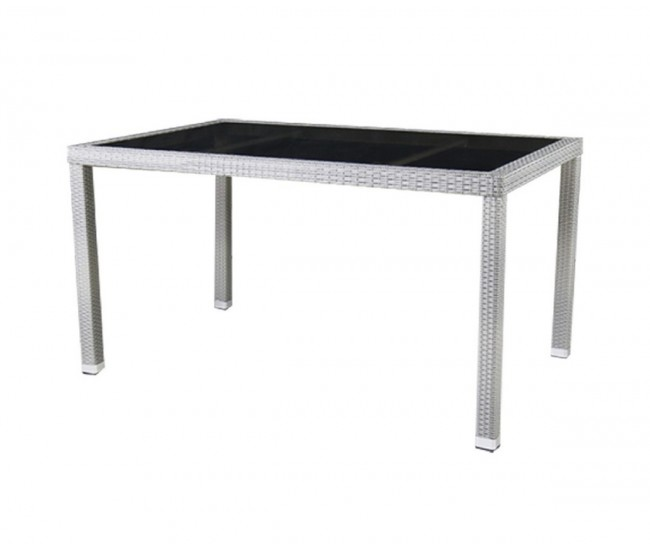 Ратанова градинска маса Т 156 140/75 см., стъкло / полипропилен - сиво/бежов