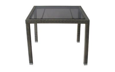 Ратанова градинска маса Т 156 90/75 см., стъкло / полипропилен - сиво/бежов