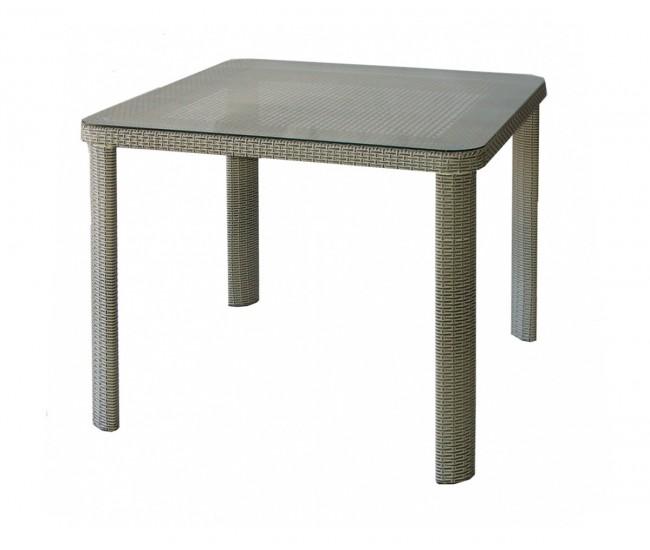 Ратанова градинска маса Т 341-1, стъкло / полипропилен - сиво/бежов