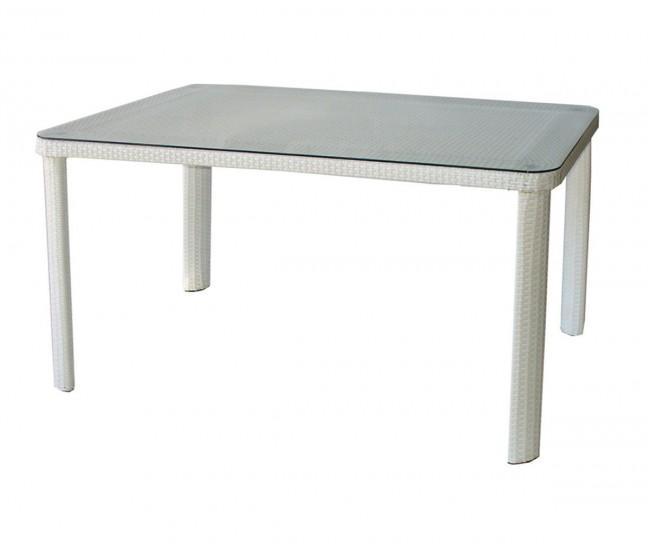 Ратанова градинска маса Т 341-2, стъкло / полипропилен - бяла