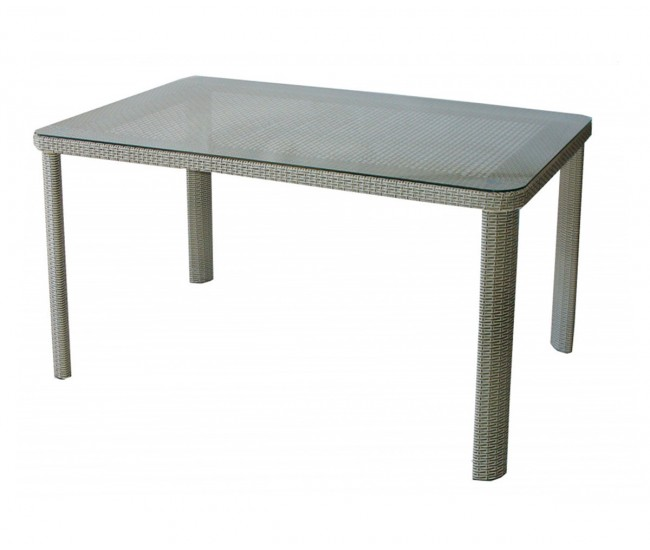 Ратанова градинска маса Т 341-2, стъкло / полипропилен - сиво/бежов