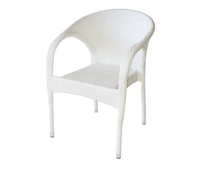 Ратанов градински стол 290 с подлакътници, полипропилен - бял