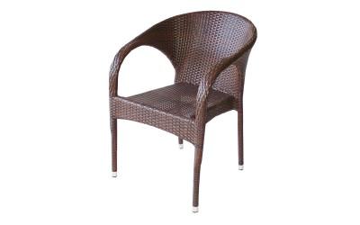 Ратанов градински стол 290 с подлакътници, полипропилен - кафяв